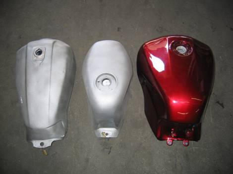 We also restore motorcycle gas tanks and RENU the inside only so the outside of the tank can be painted. The RENU process will ruin the paint on the tank. We will sandblast the outside of the tank to prep it for paint.